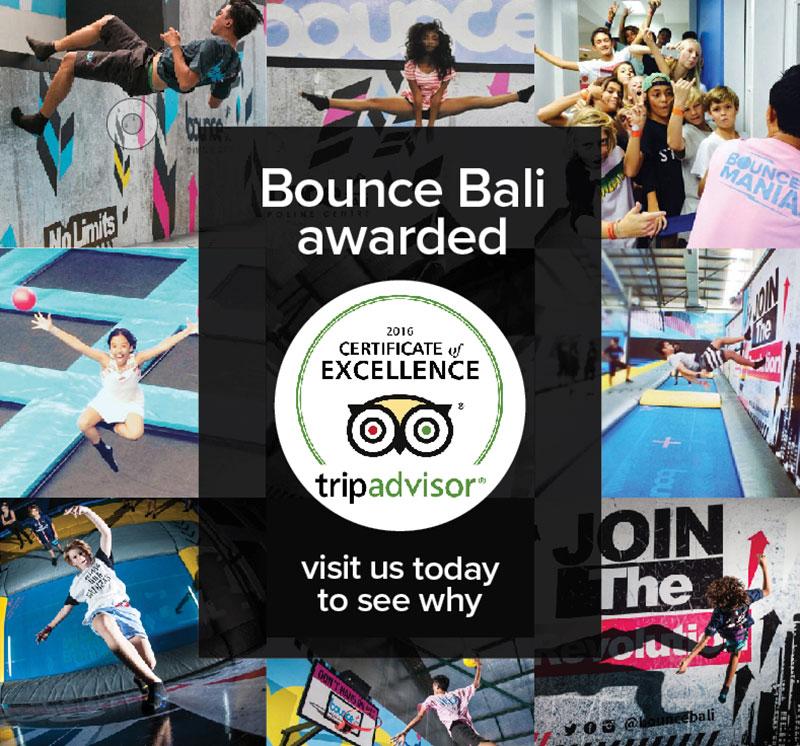 Top Tripadvisor Award for Bounce Bali