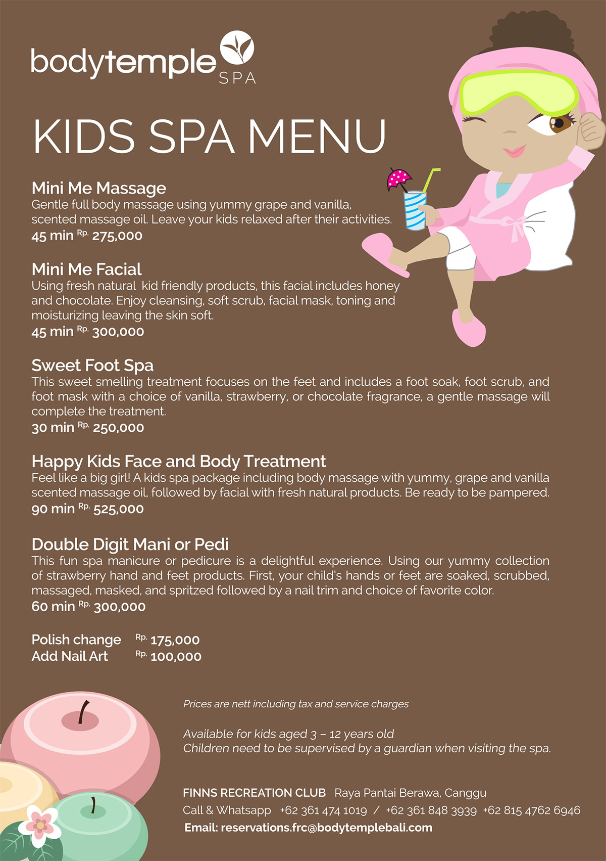 Kids Spa Menu Body Temple