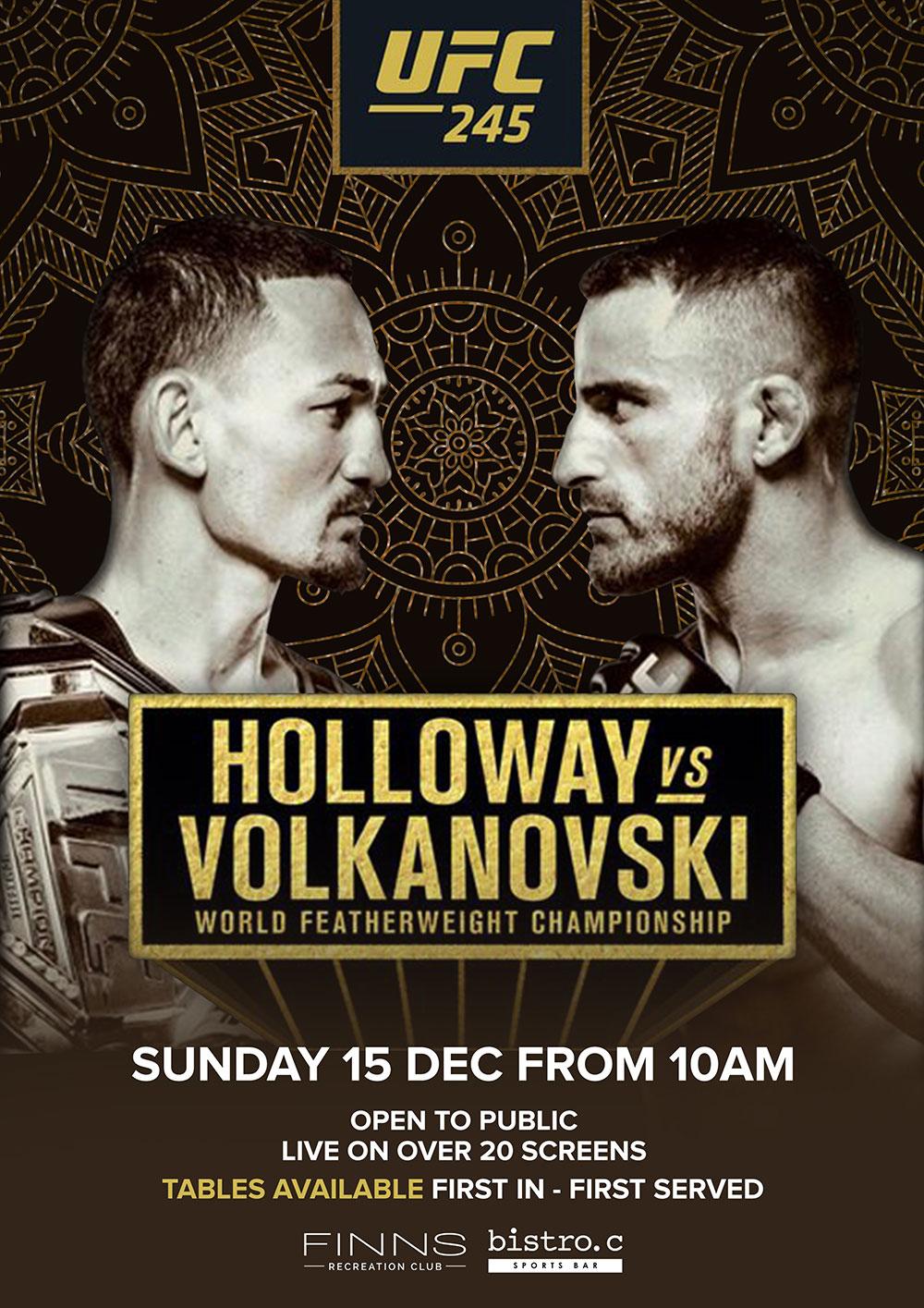 UFC 245 Holloway vs Volkanovski