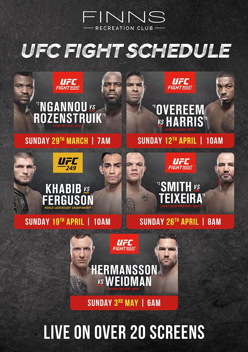UFC Fight Schedule