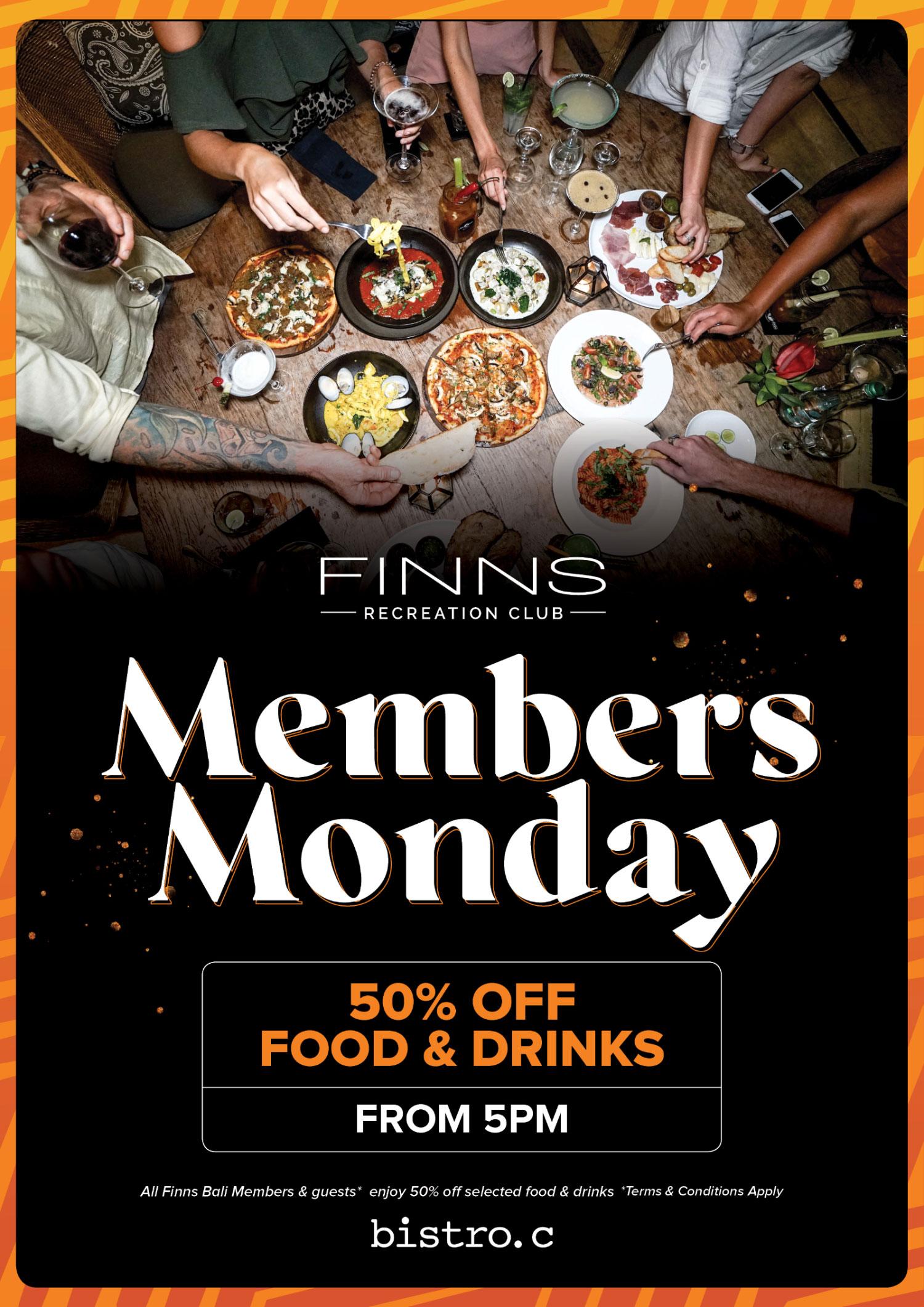 Members Monday 50% Off Food & Drinks